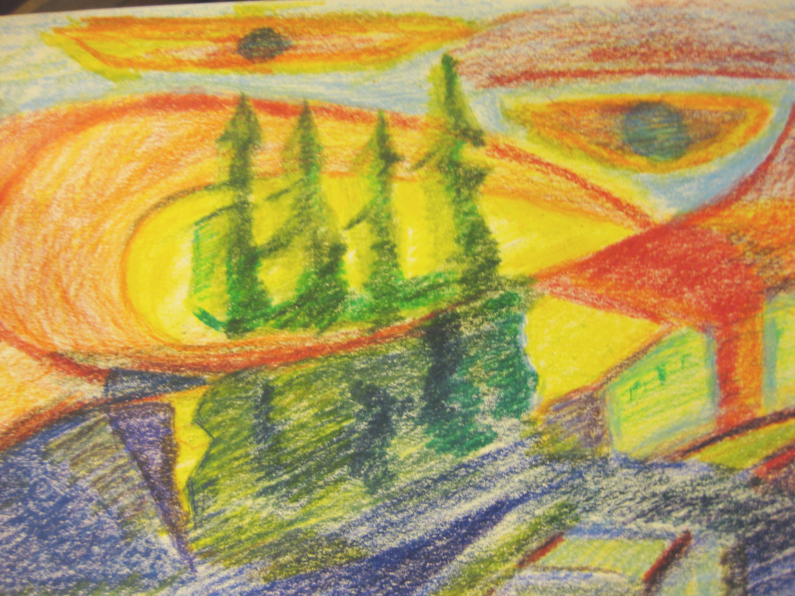 Day Three Coloured Pencil Sketches Driving Alex To The